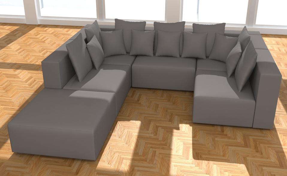 wohnlandschaft 6 teile xxl modulares sofa alcantara look farbwahl u form neu ebay. Black Bedroom Furniture Sets. Home Design Ideas