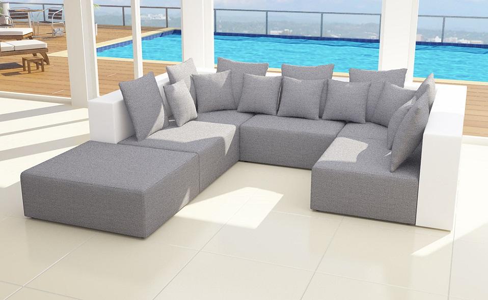mod hollywood 2farbig leder look stoff wohnlandschaft. Black Bedroom Furniture Sets. Home Design Ideas