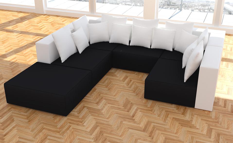 xxxl wohnlandschaft 2 farbig 6tlg modulares sofa kunstleder u form l form ecke ebay. Black Bedroom Furniture Sets. Home Design Ideas
