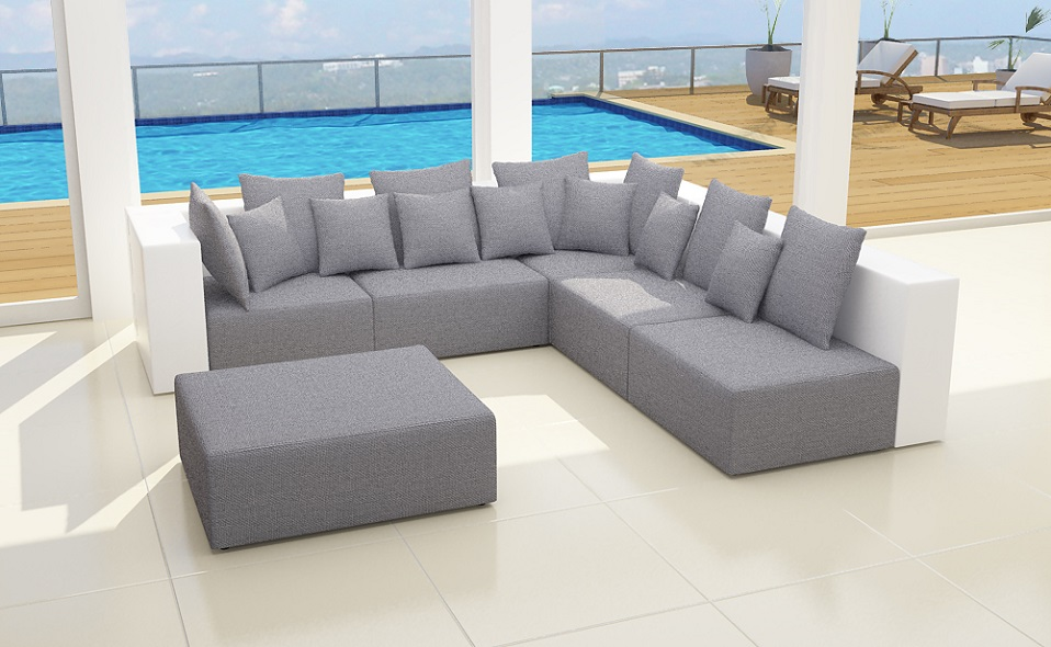 xxxl wohnlandschaft 6tlg modulares sofa 2 farbig stoff. Black Bedroom Furniture Sets. Home Design Ideas
