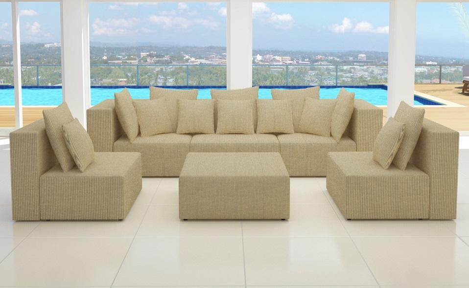 Xxxl wohnlandschaft 6tlg modulares sofa cord ecke l form for Wohnlandschaft cord