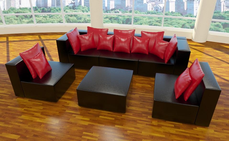 xxxl wohnlandschaft 6tlg modulares sofa kunstleder glanz u form farbwahl neuhet ebay. Black Bedroom Furniture Sets. Home Design Ideas