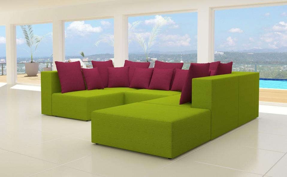 Wohnlandschaft 6 teile modulares sofa xxl stoff u form for Wohnlandschaft u form stoff