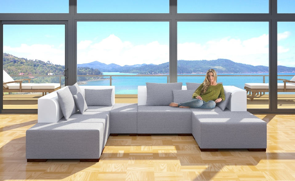 xxl 7 teile wohnlandschaft 2farbig modulares sofa ecke. Black Bedroom Furniture Sets. Home Design Ideas
