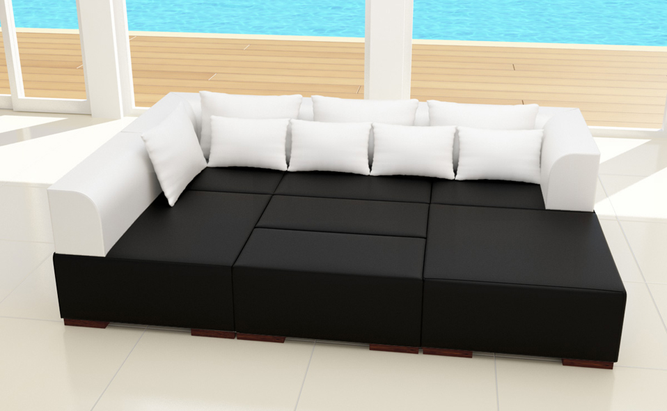 xxl 7 teile wohnlandschaft 2 farbig modulares sofa ecke. Black Bedroom Furniture Sets. Home Design Ideas