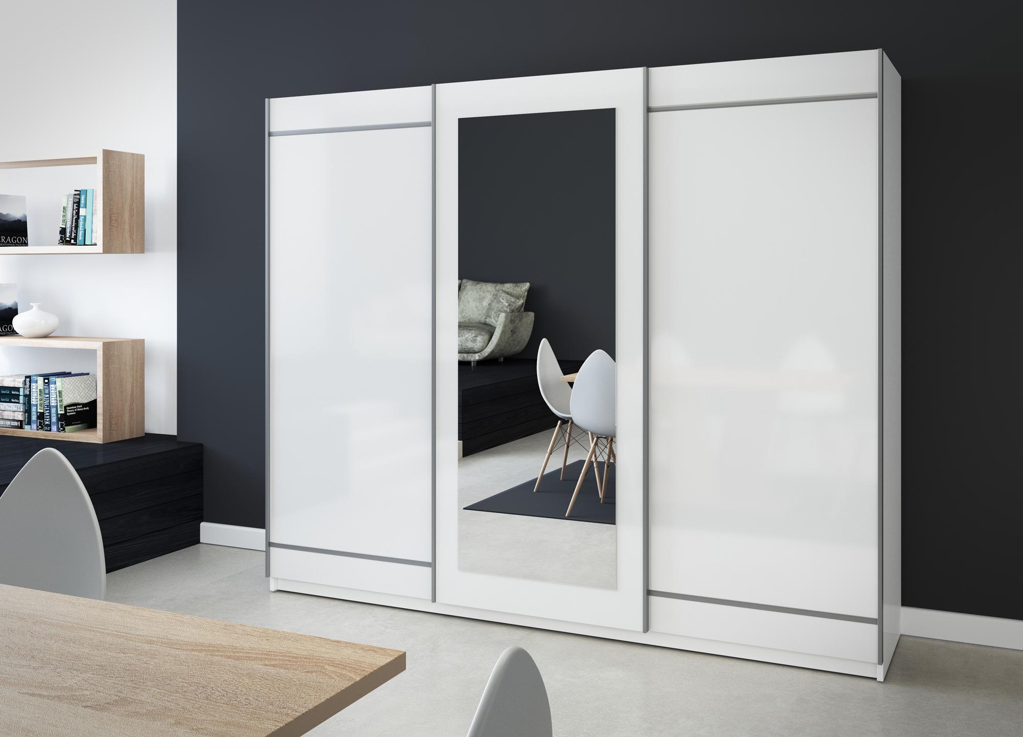 schwebet renschrank mit spiegel 150 200 250. Black Bedroom Furniture Sets. Home Design Ideas