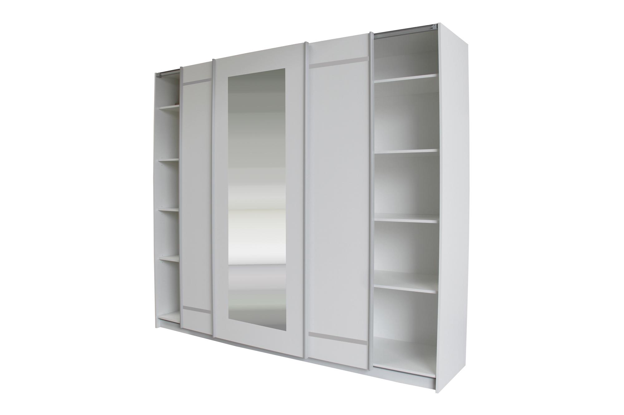 schwebet renschrank mit spiegel 150 200 250 schlafzimmerschrank kleiderschrank ebay. Black Bedroom Furniture Sets. Home Design Ideas